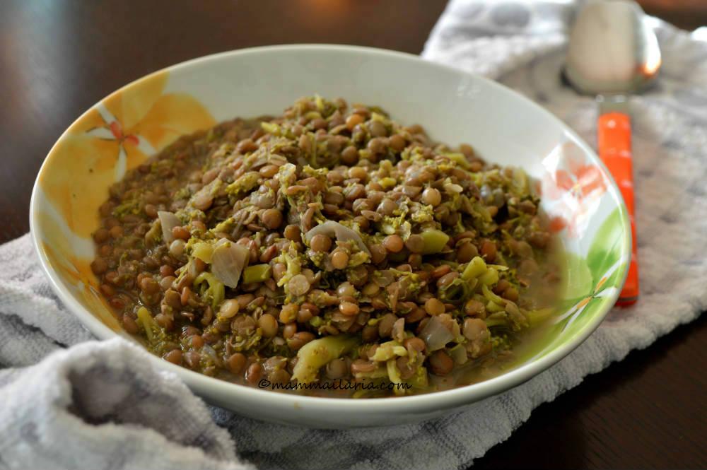 zuppa di broccoletti e lenticchie