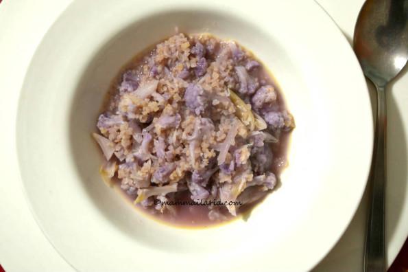 minestra di bulgur e cavolo viola