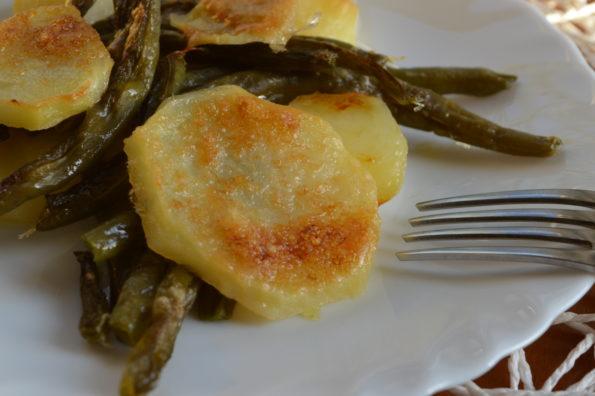 fagiolini con patate al gratin