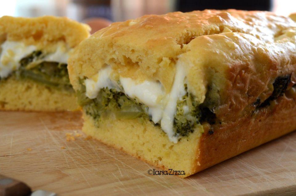 Plumcake salato ripieno con broccoletti